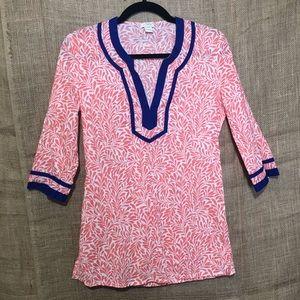 J Crew SZ XXS Tunic Top Pink Blue Short Sleeve